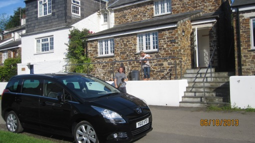 Rental car in front of rental cottage, Lerryn, Cornwall