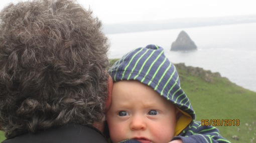 Grumps (yours truly) and grandson Miles, both showing their best sides. Gull Rock (off Trebarwith) in the background.
