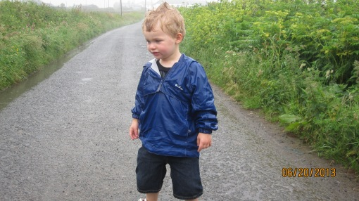 "Eli: ""I'm all rainy, Grumps!"" Me: ""Yeah. I know, Eli. Great, innit?"""