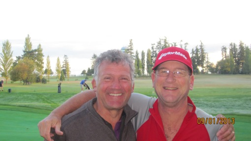 Bagger D and Mike P enjoy a moment before the final round. There was little to enjoy for the next four hours...