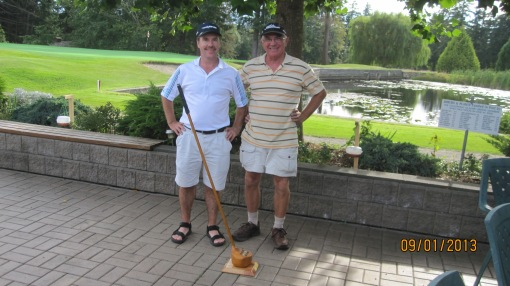 Stan Mills and Steve Ellis, the 2013 RWB champions. The vertically challenged dynamic duo pose proudly behind the Big Club.