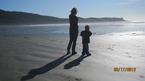 Grammy (aka Julie, aka Scottish Wife) and Eli check out the view from a secluded beach near Tofino